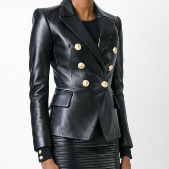 095e821464d5 Jackets & Coats | Black Blazer Synthetic Leather Balmain Inspired ...